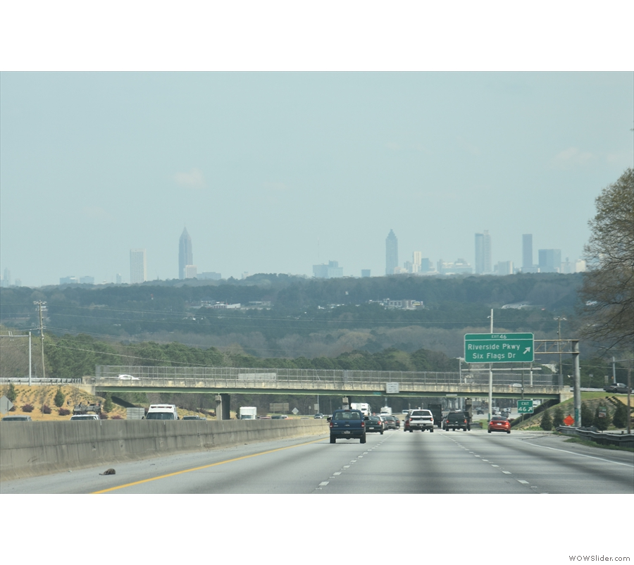 Driving into Atlanta on I-20 and my first view of the city skyline.