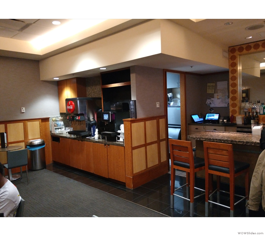 ... you'll also find the coffee machines hiding in the far corner.