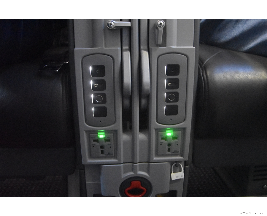 Finally, there are sockets and USB outlets between the seats.