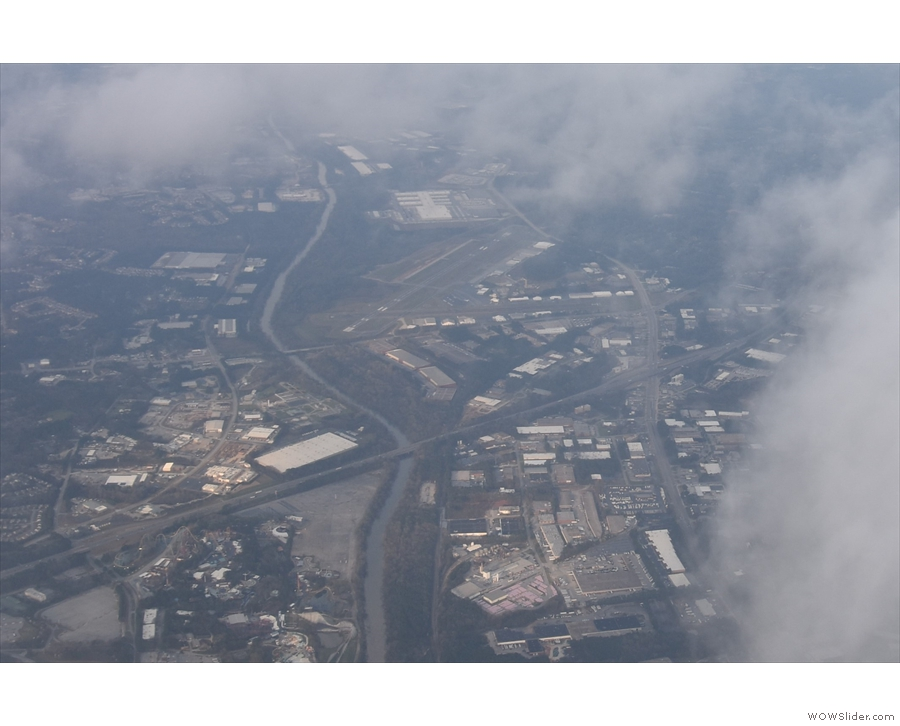 We cross I-20 and the Chattahoochee River, with Six Flags fairground to the bottom left.