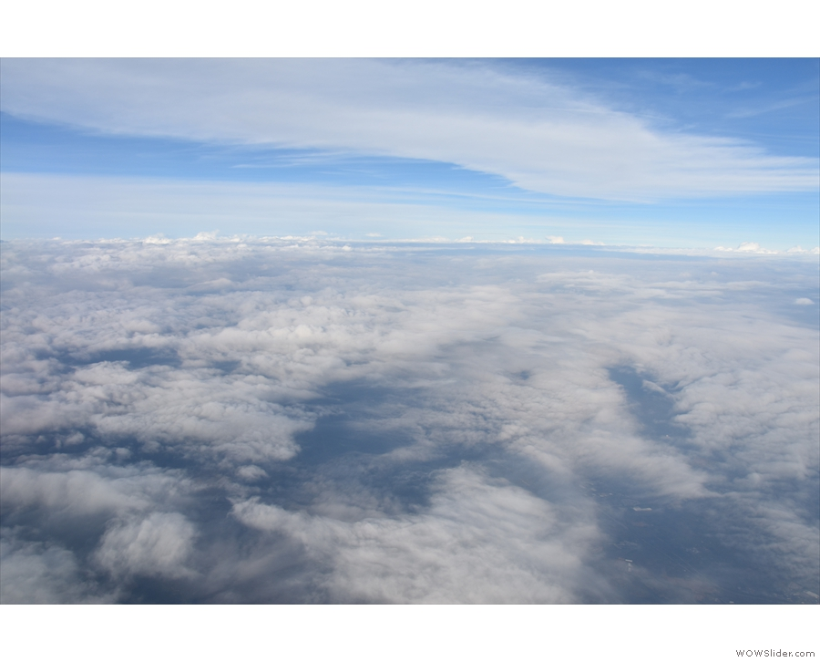 Now the cloud is thickening and we're well into our flight, heading for...