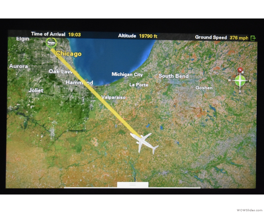 Finally, we turn towards O'Hare, ten minutes after the pilot called 20 minutes to landing.