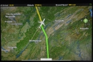 However, only a few minutes later, we turn to fly northeast, folliowing the course of the...