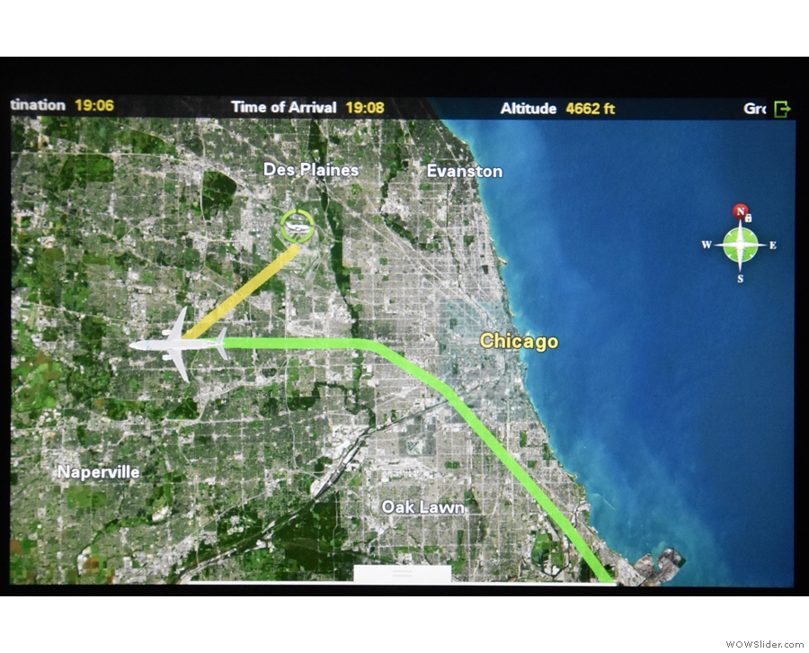 As we flew west, away from Chicago and O'Hare...