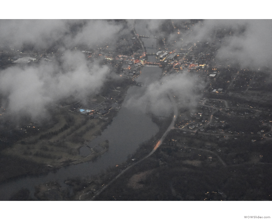 ... and passing back over the Fox River at the town of St Charles...