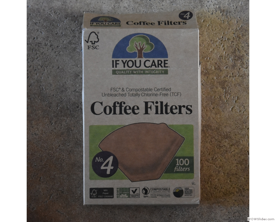You'll also need some filter papers. I use these, If You Care No. 4 filters.