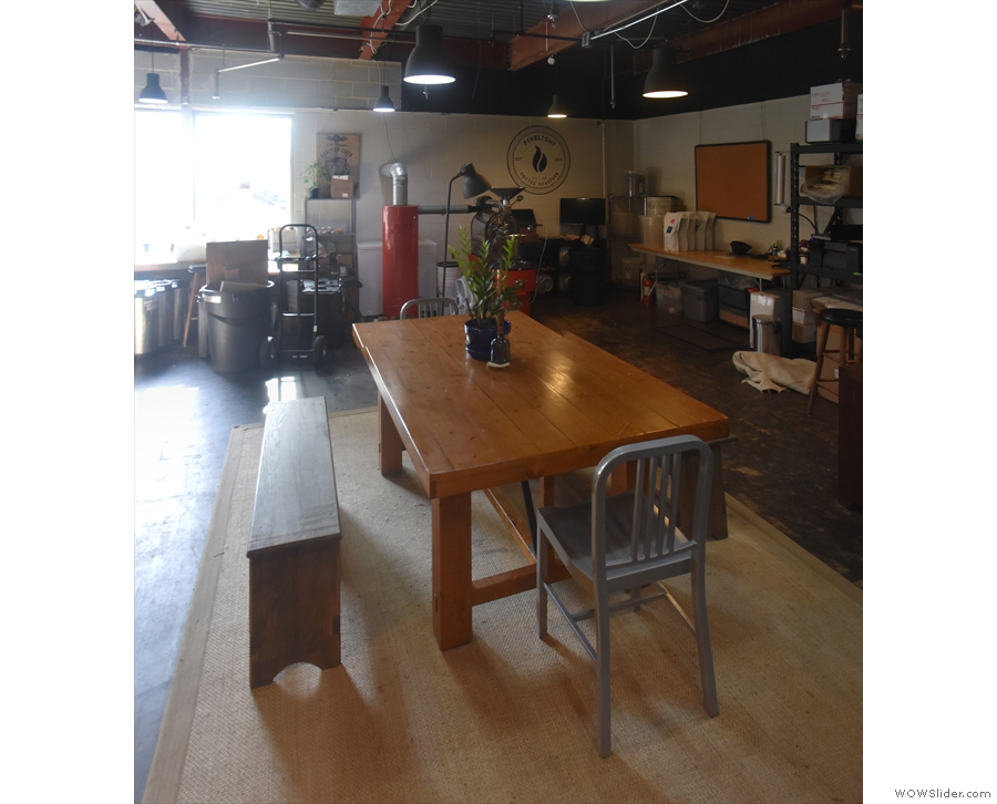 Finally, there's an eight-person communal table towards the far end of the room.
