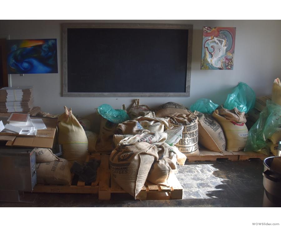 Obligatory photo of sacks of green beans.