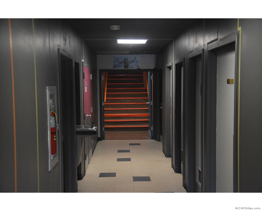 The stairs lead to this corridor (seen here from the other end, looking back at the stairs).