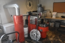 The roaster is a cute red Ambex...