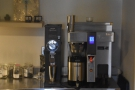 ... while the batch brewer and filter grinder are at the back on the right.