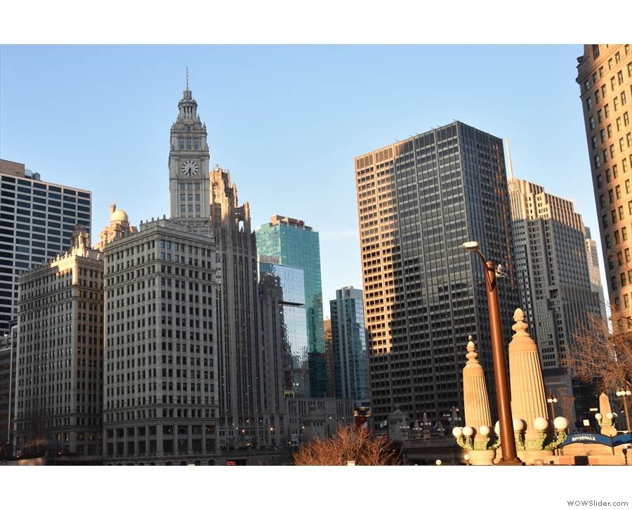 Two of my favourite buildings: the Wrigley Building and, behind it, the Tribune Tower.