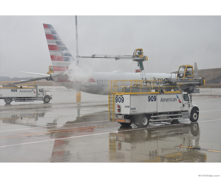 .. we reach the American Airlines de-icing station.