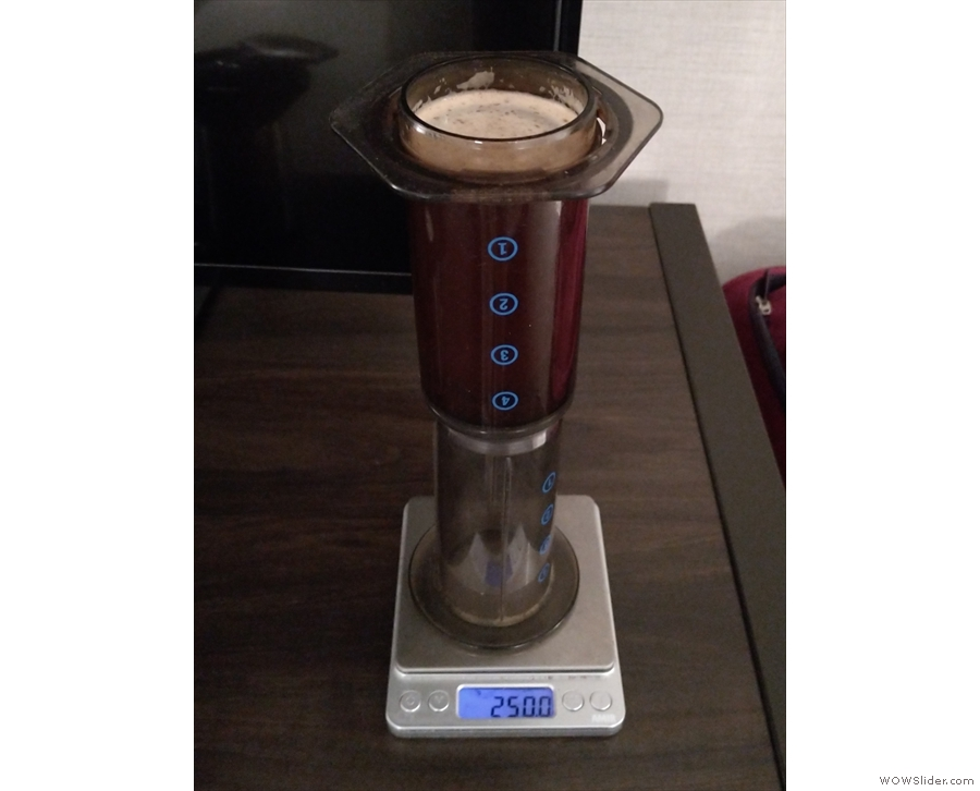 And bringing it up to date, here's my AeroPress in my hotel in Boston last month.