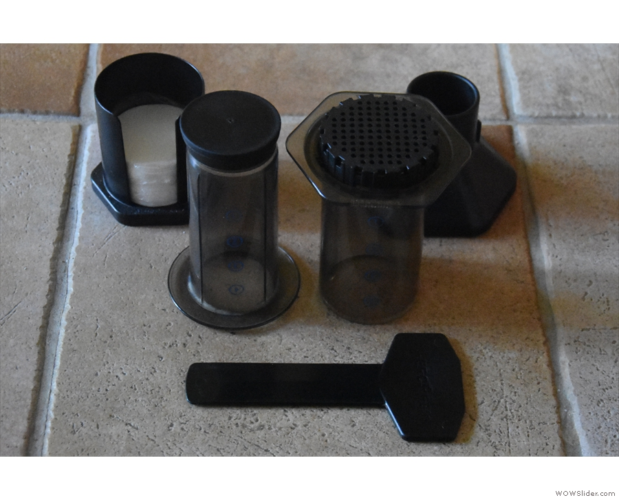 The contents: the AeroPress itself, plus the filters (left), funnel (right) and stirrer.