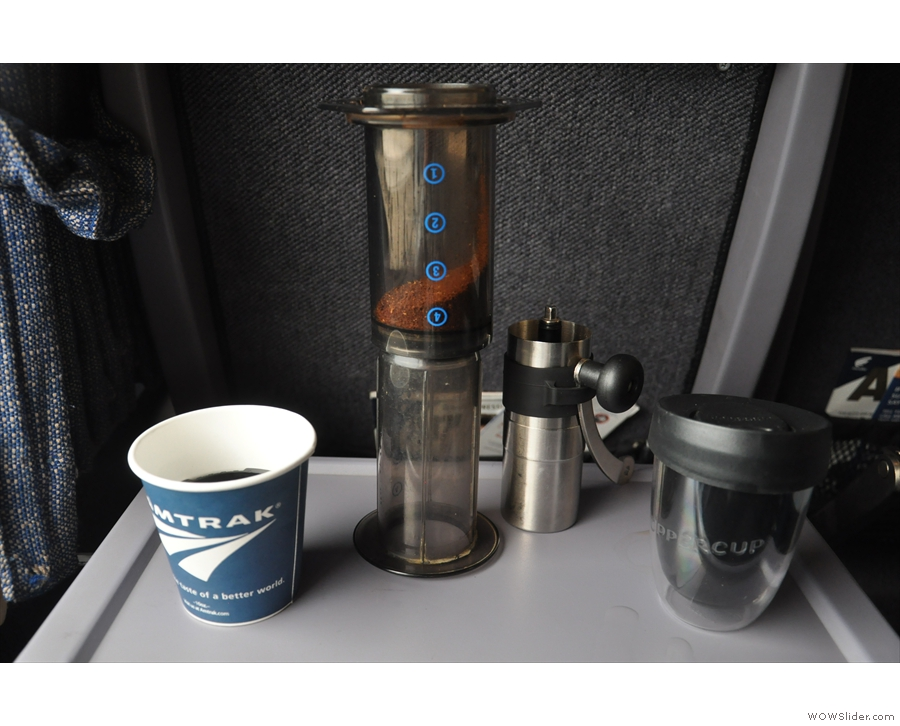 I've been using my AeroPress for years. Here it is on a train to Albany in 2015...