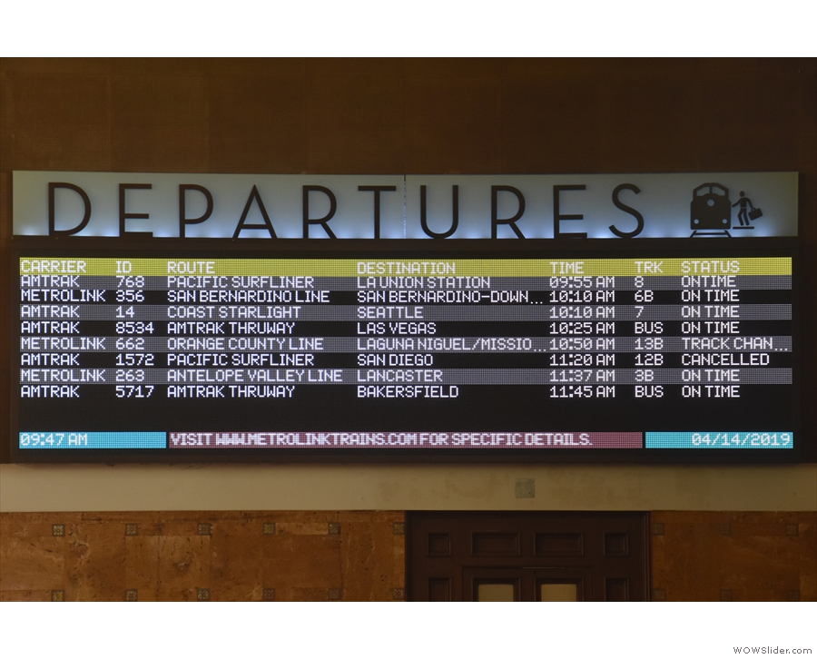 ...board. As well as Amtrak's long distance & regional trains, there are Metrolink services.