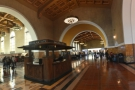 Inside, it's magnificent, with this central, vaulted hall, waiting rooms on either side...