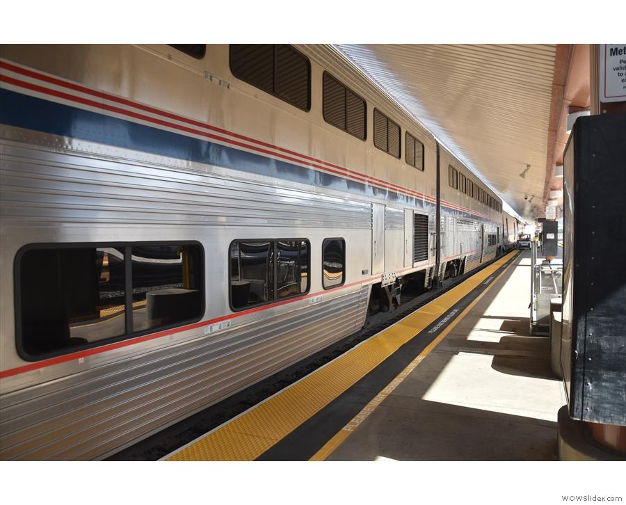 Amtrak's Coast Starlight standing on the platform at Los Angeles' Union Station.