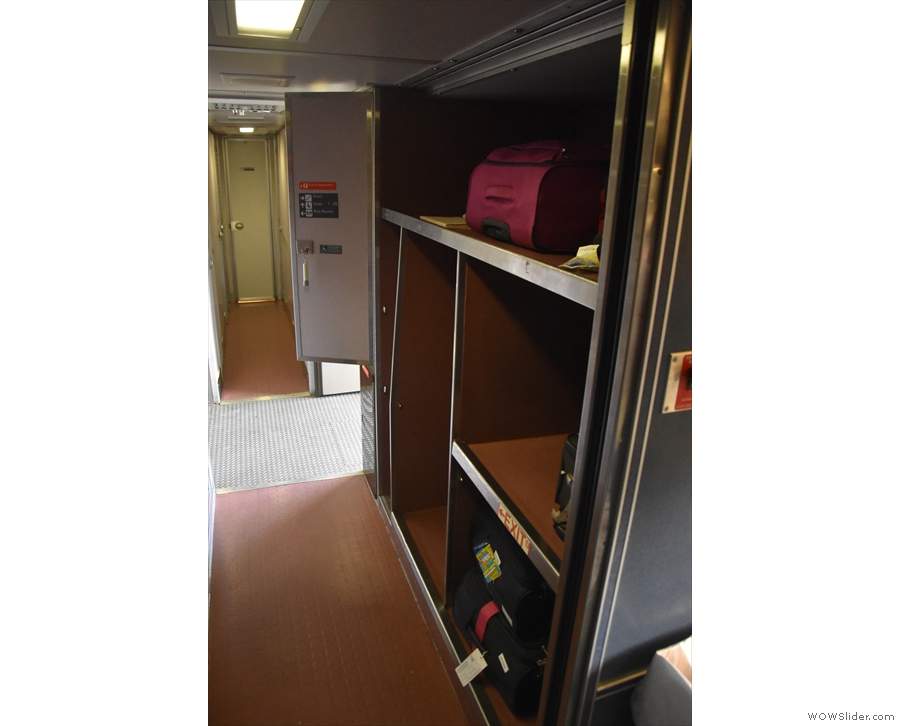 You board the double-decker Superliner at platform level where there's baggage space.