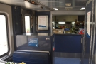 At one end of the cafe car is the counter.