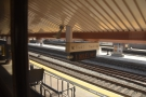 Sitting on the right-hand side of the train, waiting to leave Los Angeles' Union Station.