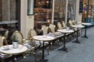 Rows of lovely chairs outside Coffee Barker in Cardiff's Castle Arcade