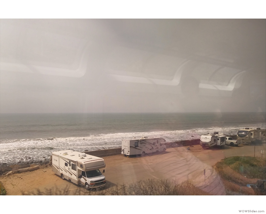 Every now and then we pass an RV park or beach access road.