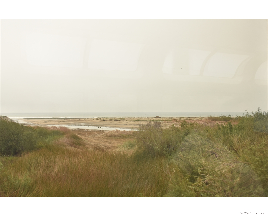 As soon as we leave Ventura, the train runs right along the coast, passing through...