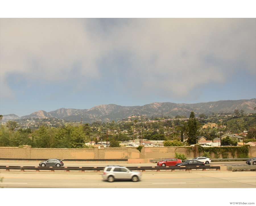 The train runs next to US 101 on the way into Santa Barbara, with the mountains...
