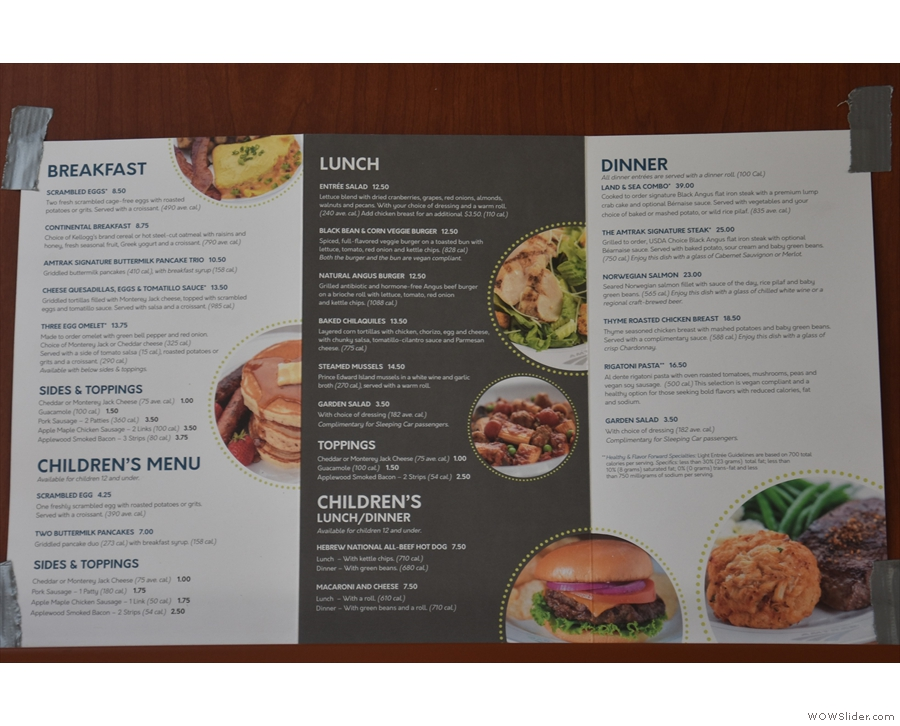 It's full table service, with separate lunch and dinner menus.