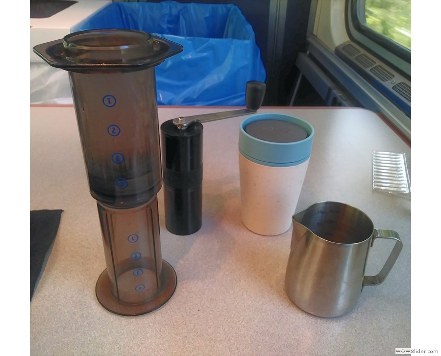On the way to San Luis Obispo, I went down to the cafe car with my travelling coffee kit...