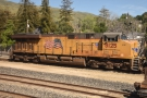 ... where one of two Union Pacific locomotives stand in the sidings.