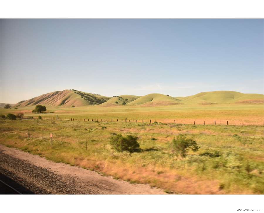 As the Salinas Valley broadened, we ran alongside some lovely, green, sculpted hills.