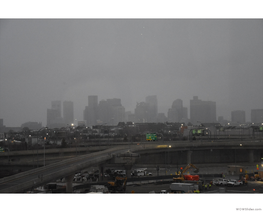 ... with downtown Boston just about visible in the murk.