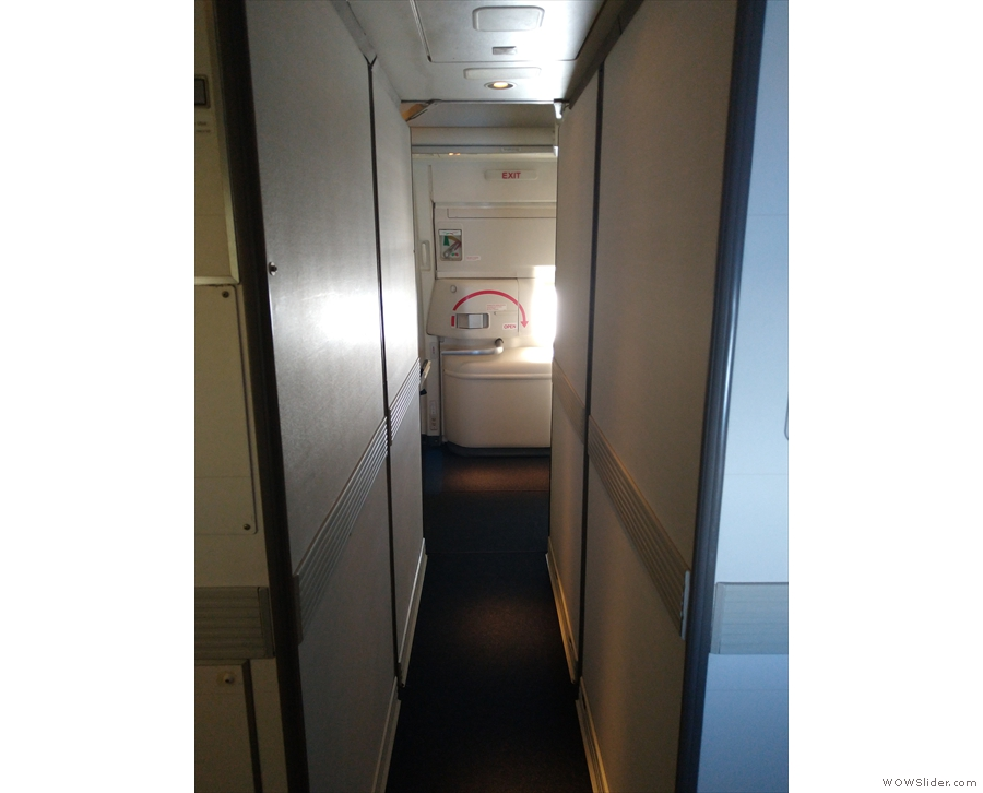 Later on during the flight, I went for a wander. There's a strange, narrow corridor...