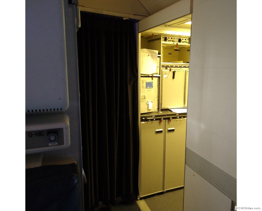 ... where you'd expect the galley to be, while the galley itself is a little further on.
