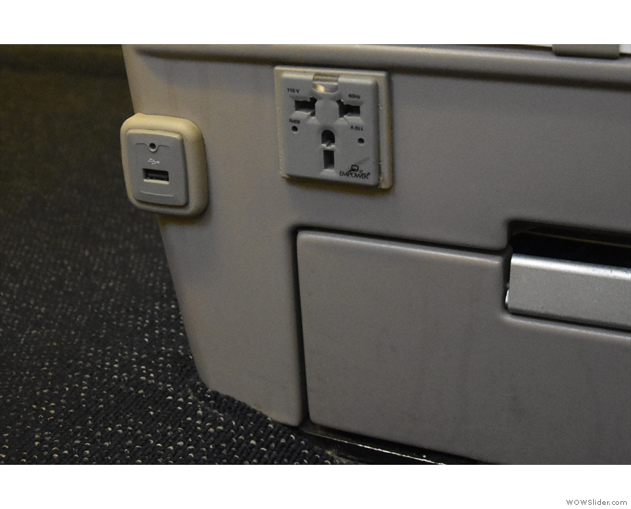 There's at-seat power, both standard mains and USB. Not the easiest to access though.