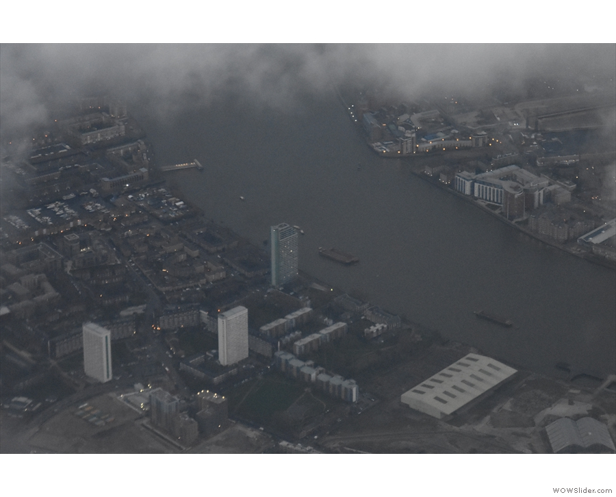 ... is a little further on, with Surrey Quays at the top of the picture.