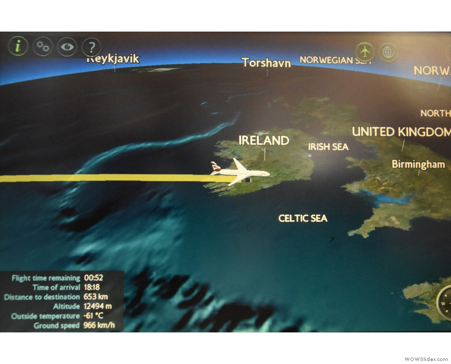 With about 50 minutes to go, we cross the west coast of Ireland ...