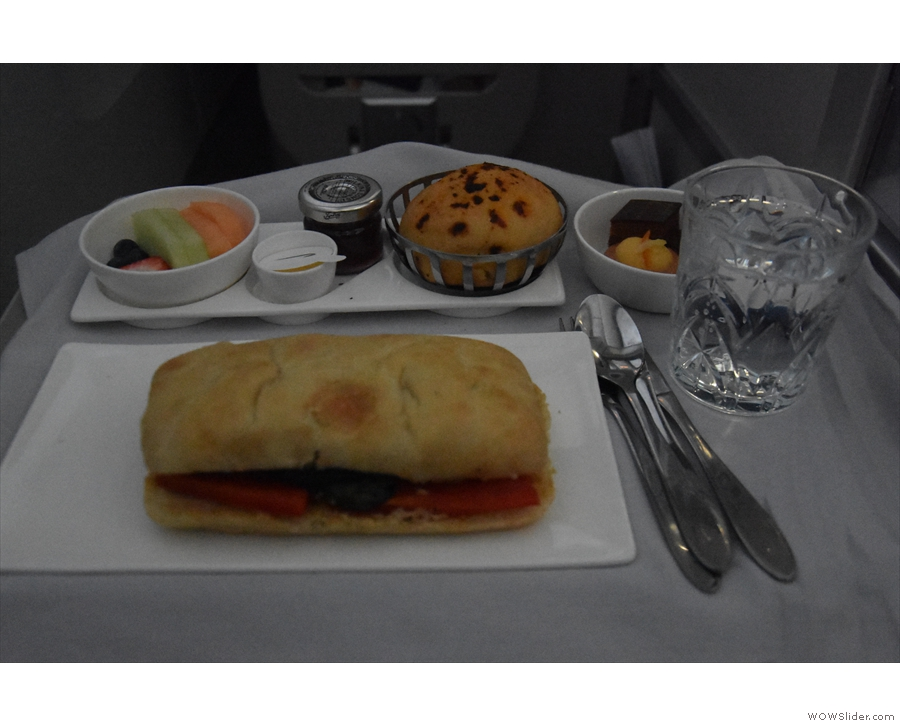 At this point, the cabin crew came around with lunch/dinner depending on your timezone!
