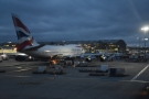 It's a short taxi to the terminal, past a British Airways 747...