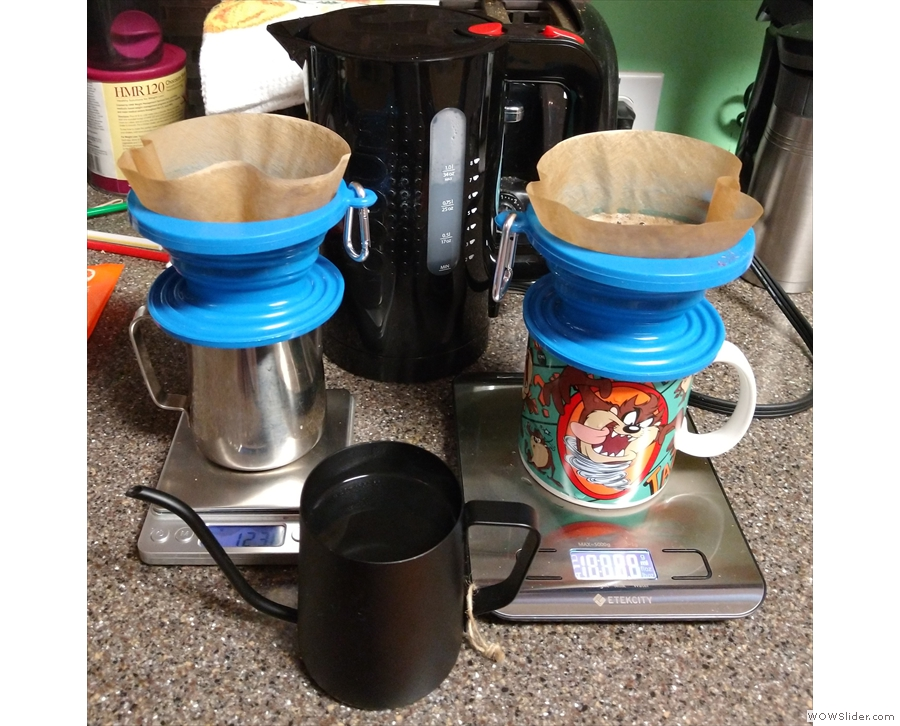 ... and here I'm using both my scales and her kitchen scales to make two pour-overs.