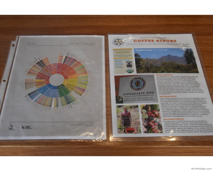 Some interesting details on the coffee, along with a tasting wheel.