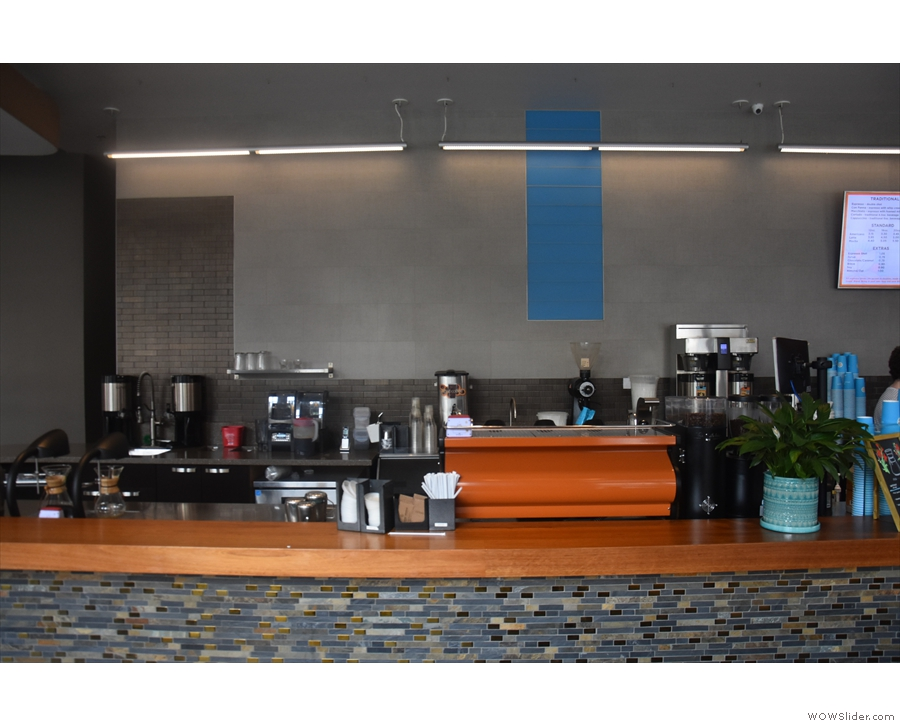 The coffee-making section: espresso, right; pour-over, left; batch-brew, back.
