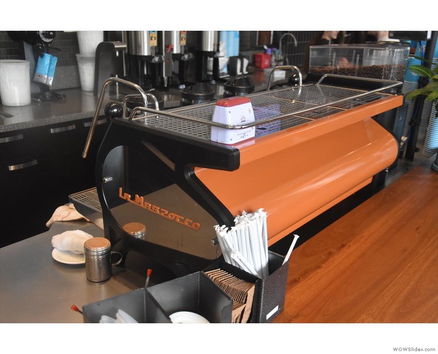 I loved the orange La Marzocco Strada espresso machine.