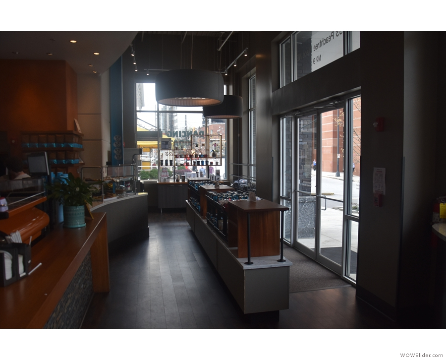 Looking back from the far end of the counter, where you collect your coffee.