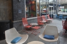 The view of the outside seating area, seen from the back.