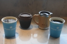 Due to COVID-19, the coffee was served in disposable cups, which we then poured into...