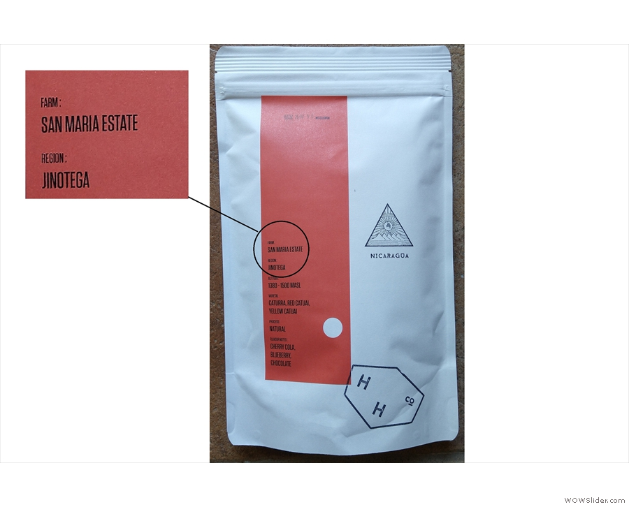 I'm currently drinking this one, a Nicaraguan single-origin. The farm's named on the packet.